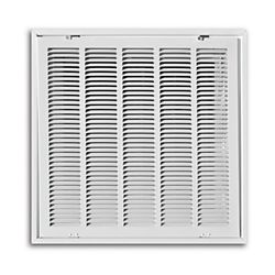 """20"""" x 20"""" T-Bar Lay-In Return Air Filter Grille with R6 Molded Insulated Back - White"""