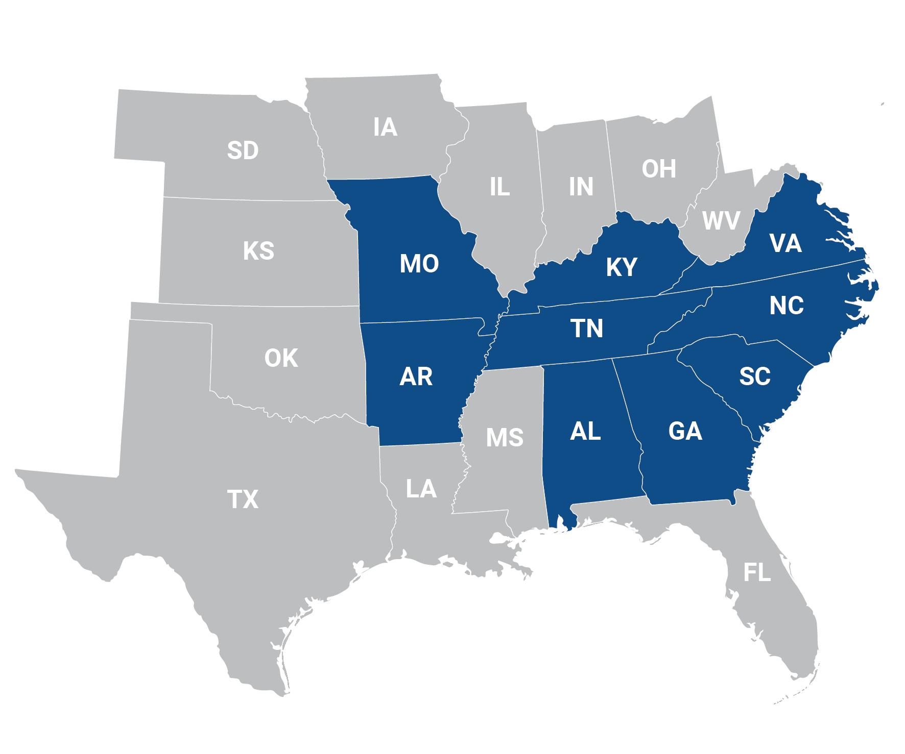 East Coast Metal Distributors Map